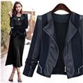 Novo estilo moda mulher jaqueta de couro pu casaco curto irmã gordura mostram fina cortada jaqueta de couro slim jaqueta de couro locomotiva