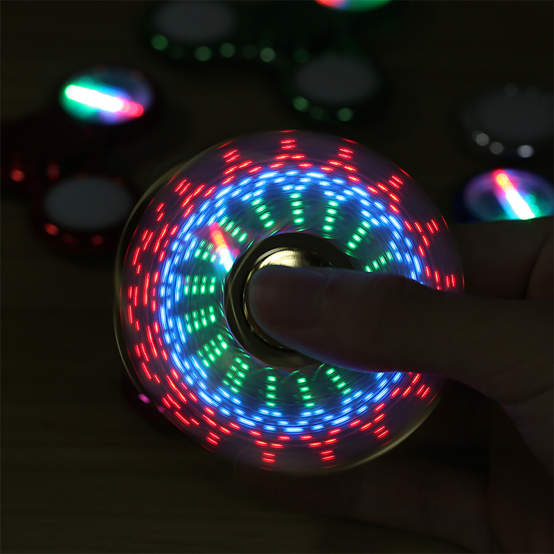 LED Light Fidget Spinner Finger Plastic Colorful EDC Glow Hand Spinner Tri For Kid Adult Autism