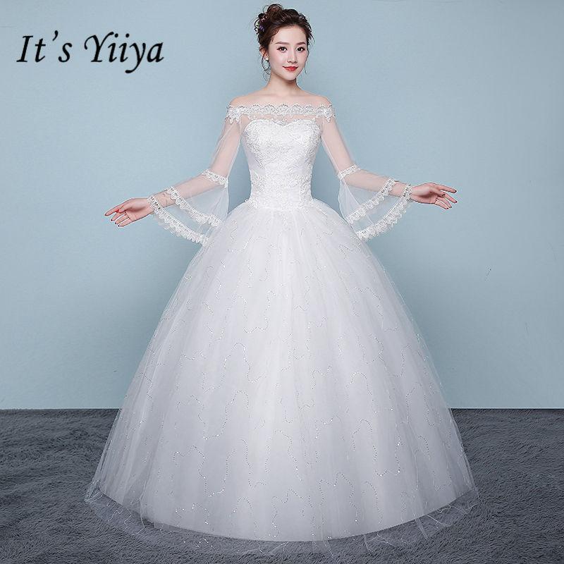 Simple Wedding Dresses Boat Neck: It's YiiYa Wedding Dress Flare Sleeve Simple Boat Neck
