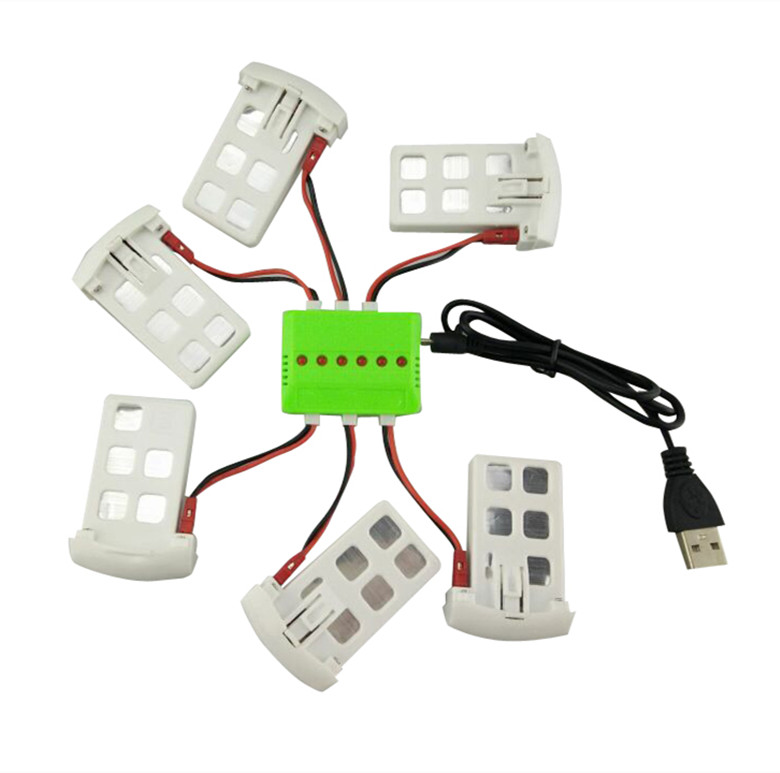 BLL Syma X5UC / X5UW RC Quadcopter Spare Parts Accessories 3.7V 500mAh Battery * 6PCS + USB Charger + Transfer Cable * 6PCS 3pcs battery and charger with 1 care 3 conversion cable for syma x8sw x8sc rc quadcopter accessories battery