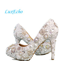Handmade White Pearl Woman Wedding Shoes Crystal Shoes High Heel Bridal Shoes Round Toe Up Heel