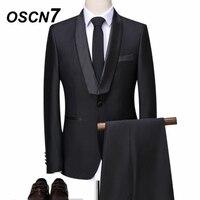 OSCN7 черный 3 предмета Индивидуальные костюмы свадебное мероприятие нежный Для мужчин s настроить костюм модная шаль с лацканами индивидуаль