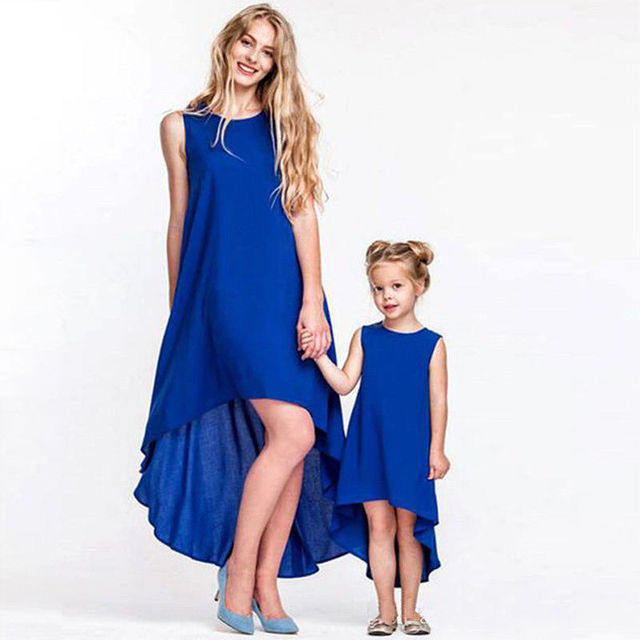 e6fbd0336eb715 Mother and Daughter Royal Blue Solid Sleeveless Asymmetrical Long Dress  Casual Family Matching Clothes