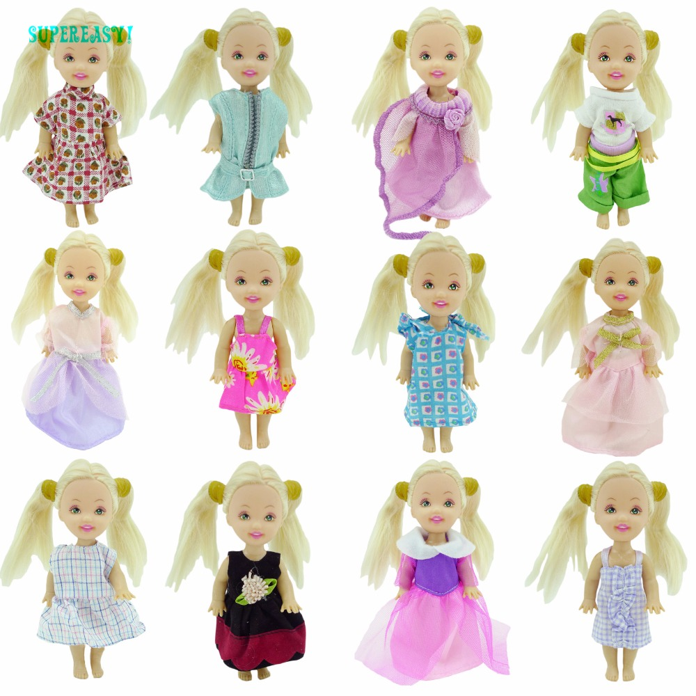 Random 5 Set Cute Mini Outfit Blouse Trousers Pants Uppers Bottoms Dress Clothes For Kelly Baby Size Doll xMas Gift Play House random 10 items   fashion 5 outfit   5