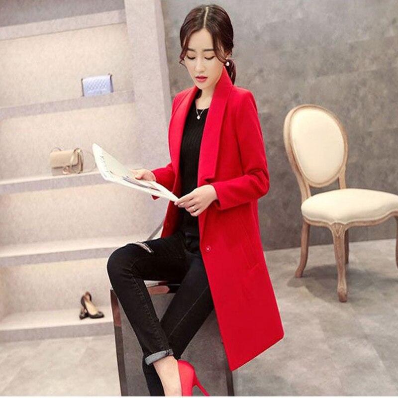Delle Sottile Rivestimento rosso Autunno cachi Stile Donne Femminile Lungo Cw29 Giacca Collare Vestito Cappotto Rosa E Nero Più Il Lana Del Inverno Di Colore Miscele colore xXqr6wYq4
