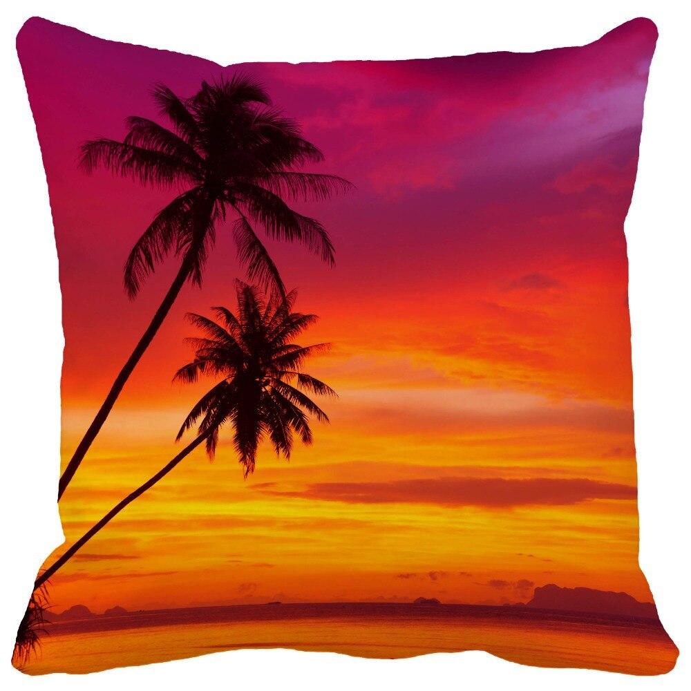 Summer Style Palm Trees Silhouette on Sunset Tropical Beach Print Throw Pillows Home Decor Car ...