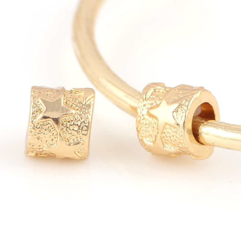 10 Pcs a Lot Gold-Color Alloy Beads Tube Shape With Stars DIY Big Hole Metal Beads Bead Charm Fit For Pandora Charms Bracelets