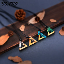 BOAKO Triangle Resin Wood Pendant Necklace Handmade Resin Rope Chain Choker Necklace For Women Men Charm Jewelry collar mujer handmade wood triangle bead necklace