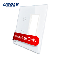Free Shipping Livolo Luxury White Pearl Crystal Glass US Standard 2Gang 1 Frame Glass Panel VL