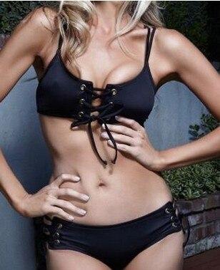 2017 new women's sexy tight black tie crochet bikini suit neoprene swimwear women beach sports suit plus size swimwear Brazil