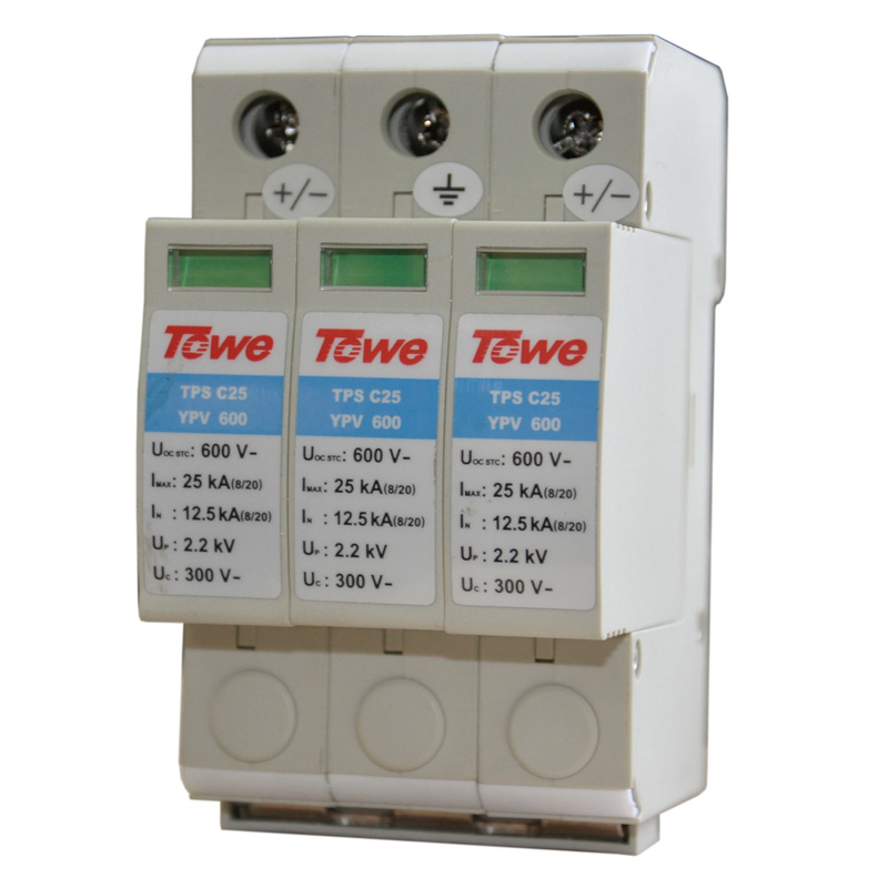 TOWE AP - C25 YPV600 PV systems 600V DC System Power Class C protection, 3 modulus, Imax: 25KA, Up: 2.2V Thunder protector towe ap c40 pv600 pv systems 600v dc system power class c protection 4 modulus imax 40ka up 2 2v thunder protector
