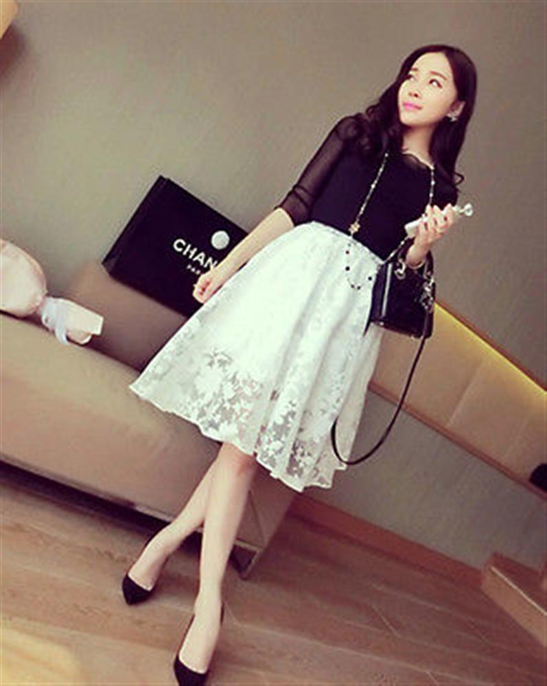 ab0222afaf78e NEW Women Double Layer Lace Pleated Retro Skirt Ball Gown Elastic ...