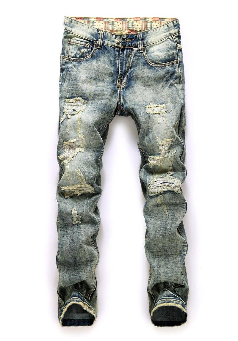 Новый стильный Для мужчин Slim Fit Прямо Омывается джинсовые штаны узкие брюки повседневные джинсы Для мужчин S модные рваные длинные джинсы