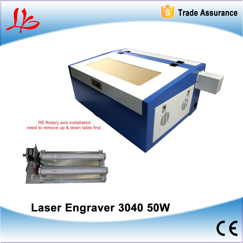 CO2 Mini Laser Engraver 3040 CNC Cutting Engraving Machine with Rotary Axis, 50W Laser Tube cnc tailstock rotary axis a axis rotary axis engraving machine chuck for cnc router