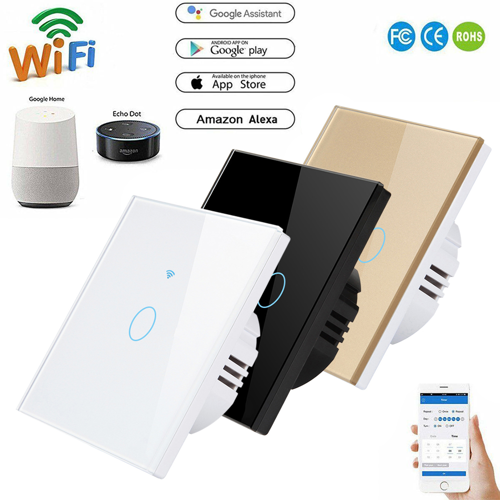 Interruptor inteligente interruptor de luz wi fi toque interruptor de alimentação parede app controle remoto intellegent para alexa/echo casa 1/2/3 gang