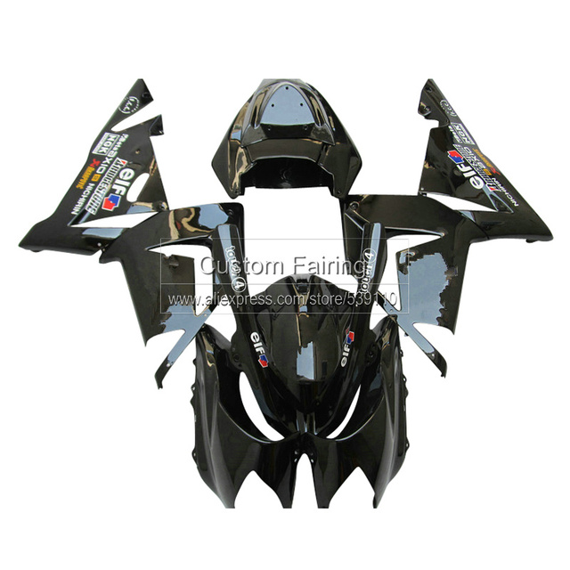 Schwarz Kundenspezifische Verkleidung Kit Fur Kawasaki ZX10R Ninja Zx 10r 2005 2004 05 04