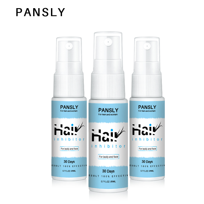 3pc Pansly Spray Painless Permanent Hair Growth Removal Inhibitor Serum Oil Bikini Intimate Face Legs Body Armpit Hair Remover