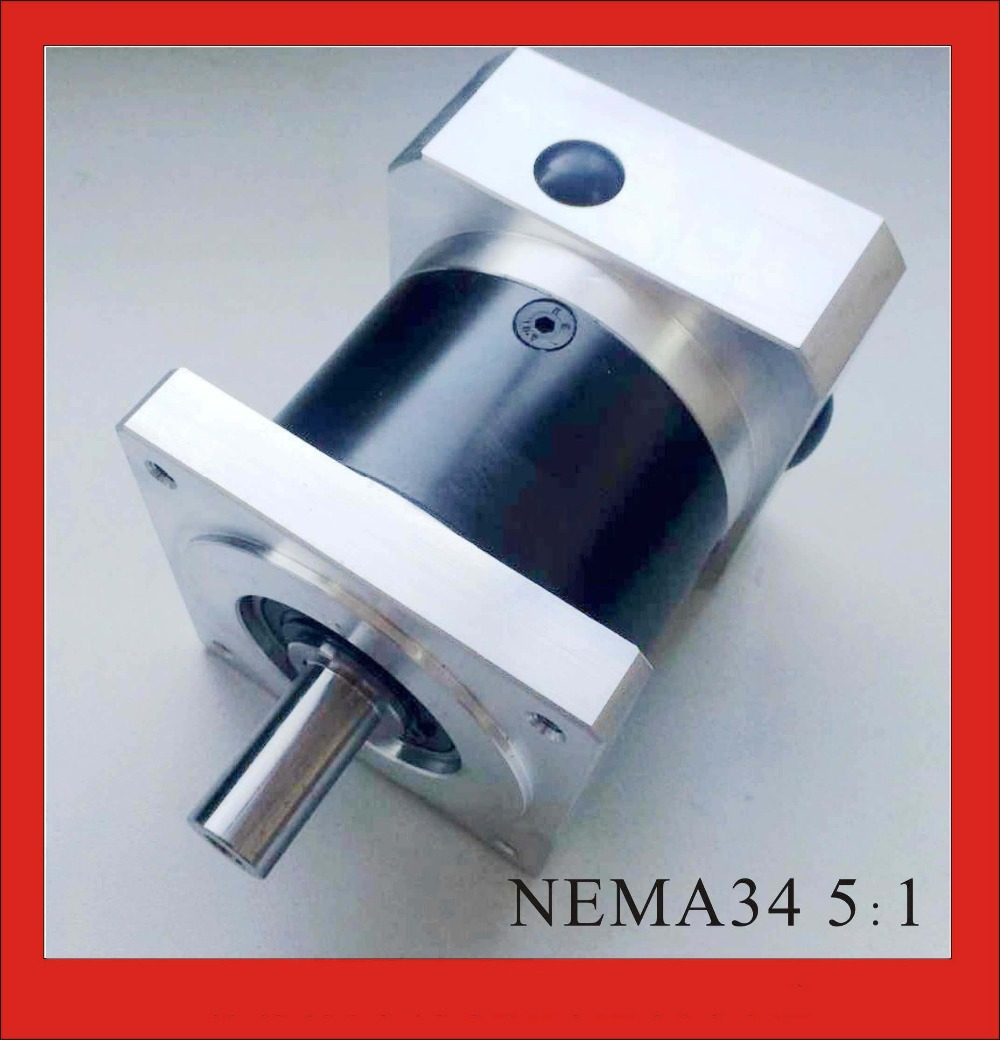 5:1 NEMA34 Planetary Gearbox for nema 34 Gear Stepper Motor 50N.m (6944oz-in) Rated Torque nema23 geared stepping motor ratio 50 1 planetary gear stepper motor l76mm 3a 1 8nm 4leads for cnc router