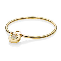 Women DIY Jewelry 925 Sterling Silver Snake Chain Fit Shine Gold Moments Smooth Bracelet With Pandora Signature Padlock Clasp