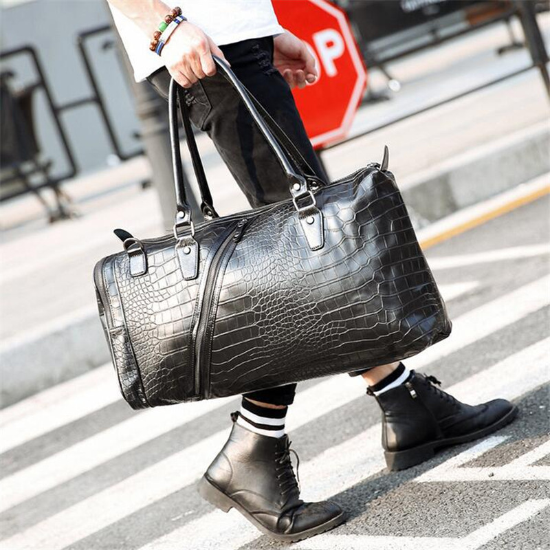 ФОТО Hot ! High Quality Luggage Travel Bag Fashion Men Travel Bags Duffle Weekend Bag Crocodile Pattern Black