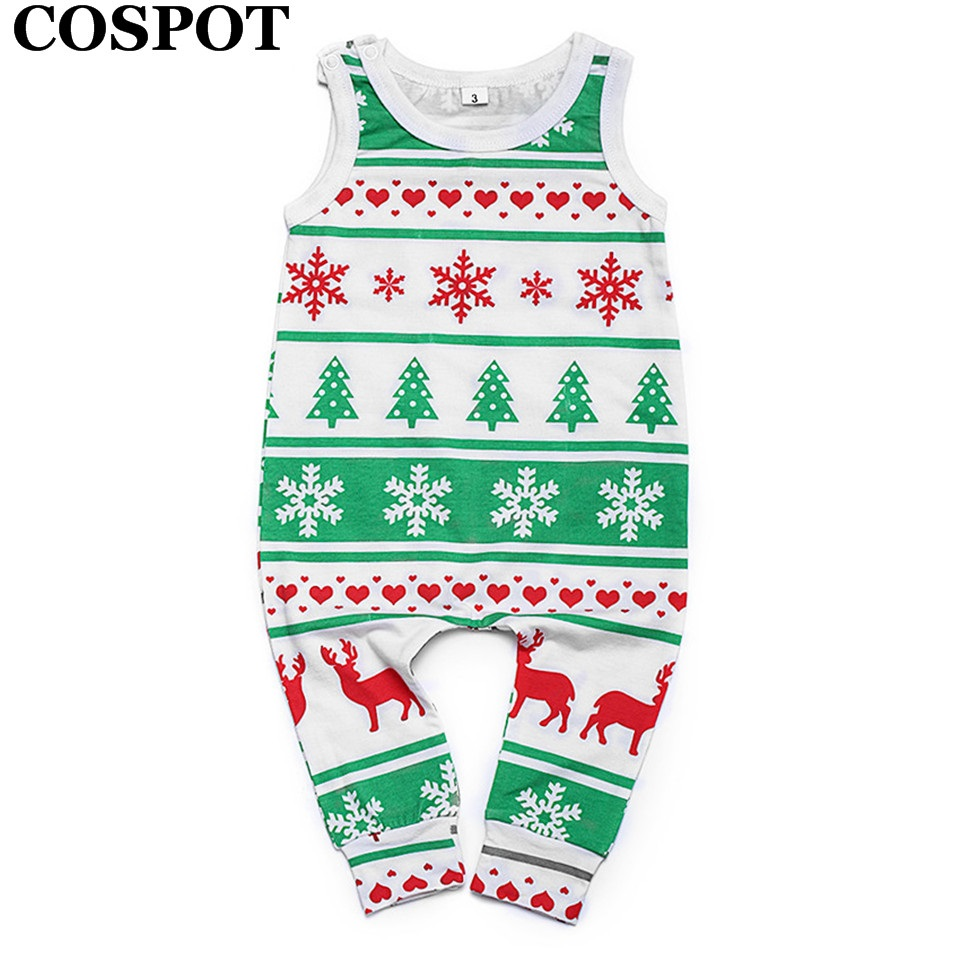 COSPOT Baby Boys Girls Christmas Romper Newborn Summer Xmas Cotton Harem Jumpsuit Infant Tank Playsuit Kids Fashion Jumper 38
