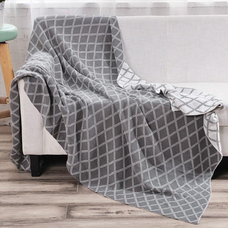 Comfy Home Textile Blanket Bed Sheet Geometric Pattern Double Face Blanket Large Elastic Blanket Grey Black