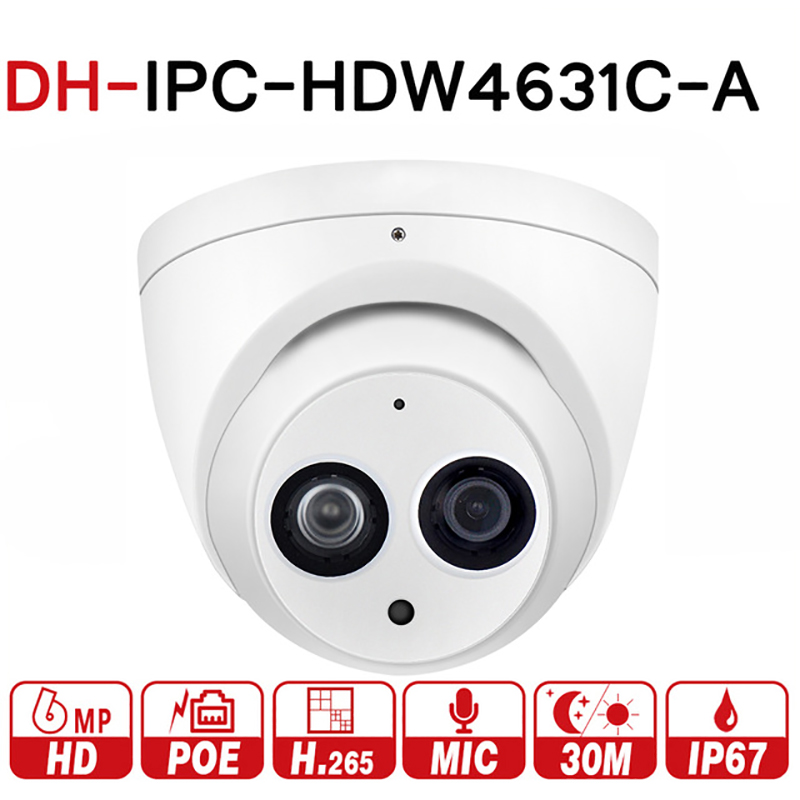 DH IPC-HDW4631C-A 6MP IP Camera Built-in MIC IR 30m IP67 network dome Camera HDW4631C-A with poe multi-language firmware цена 2017