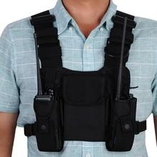Náilon tático peito saco coldre bolsa 3 bolsos ajustável para yaesu baofeng UV 5R uv5r uv 82 uv82 walkie talkie iphone samsung