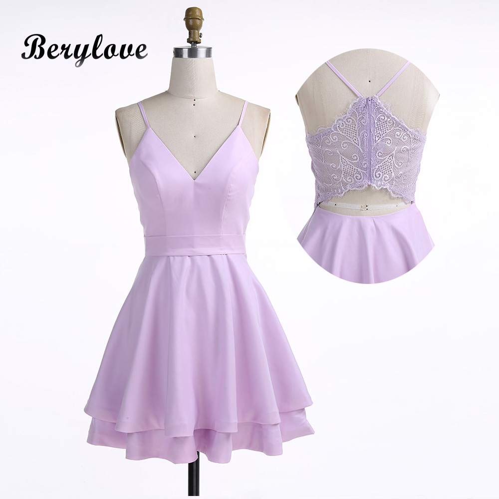 Detail Feedback Questions about BeryLove Cute Lavender Short Cocktail  Dresses 2018 Mini V Neck Satin Lace Cocktail Gowns Plus Size Special  Occasion Party ... ce0b9c9106a6