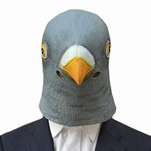 Halloween Creepy Pigeon Head Mask Cosplay Costume Theater Prop Latex Giant Bird Animal For Party