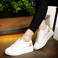 Women Wedges Pumps shoes 2016 Fashion Lace Up Leather Casual Platform Woman Shoes for Ladies Height Increasing White Shoes F5258