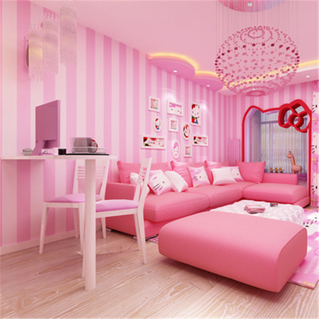 bedroom background pink living minimalist korean princess papel modern children child parede pvc warm infantil woven non zoom beibehang stripe