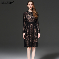 MUSENDA Plus Size Women Hollow Out Lace Tunic Draped Black Dress 2017 Spring Long Sleeve Dress Lady Casual Fashion Brief Dresses