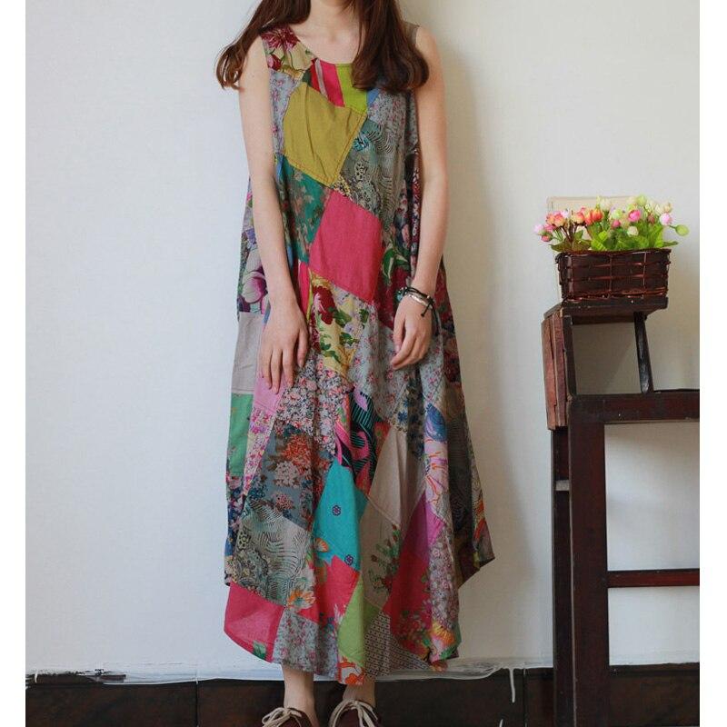 mulheres praia vestido estilo boho vestido sem mangas retro patchwork lenis de algodo longo vestidos