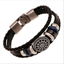 Genuine Leather Vintage Wild Alloy Anchor Multilayer Hand Weave Leather  women men Cuff Bracelet
