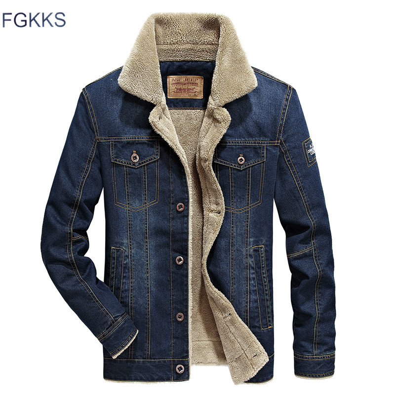 Fgkks Model Denim Jacket Males Fur Cllar Thicken Outwear Jacket Denim Coat Clothes Males's Coat Parka Heat Clothes