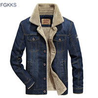 FGKKS Brand Denim Jacket Men Fur Cllar Thicken Outwear Jacket Denim Coat Clothing Men's Coat Parka Warm Clothing