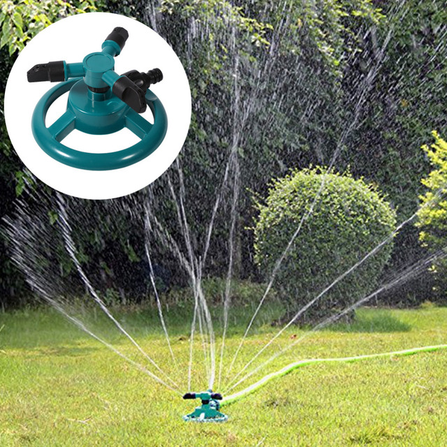 Garden Watering Systems 360 Degree Automatic Rotating Watering Sprinkler Irrigation System 3 Nozzle Pipe Hose Garden Tools