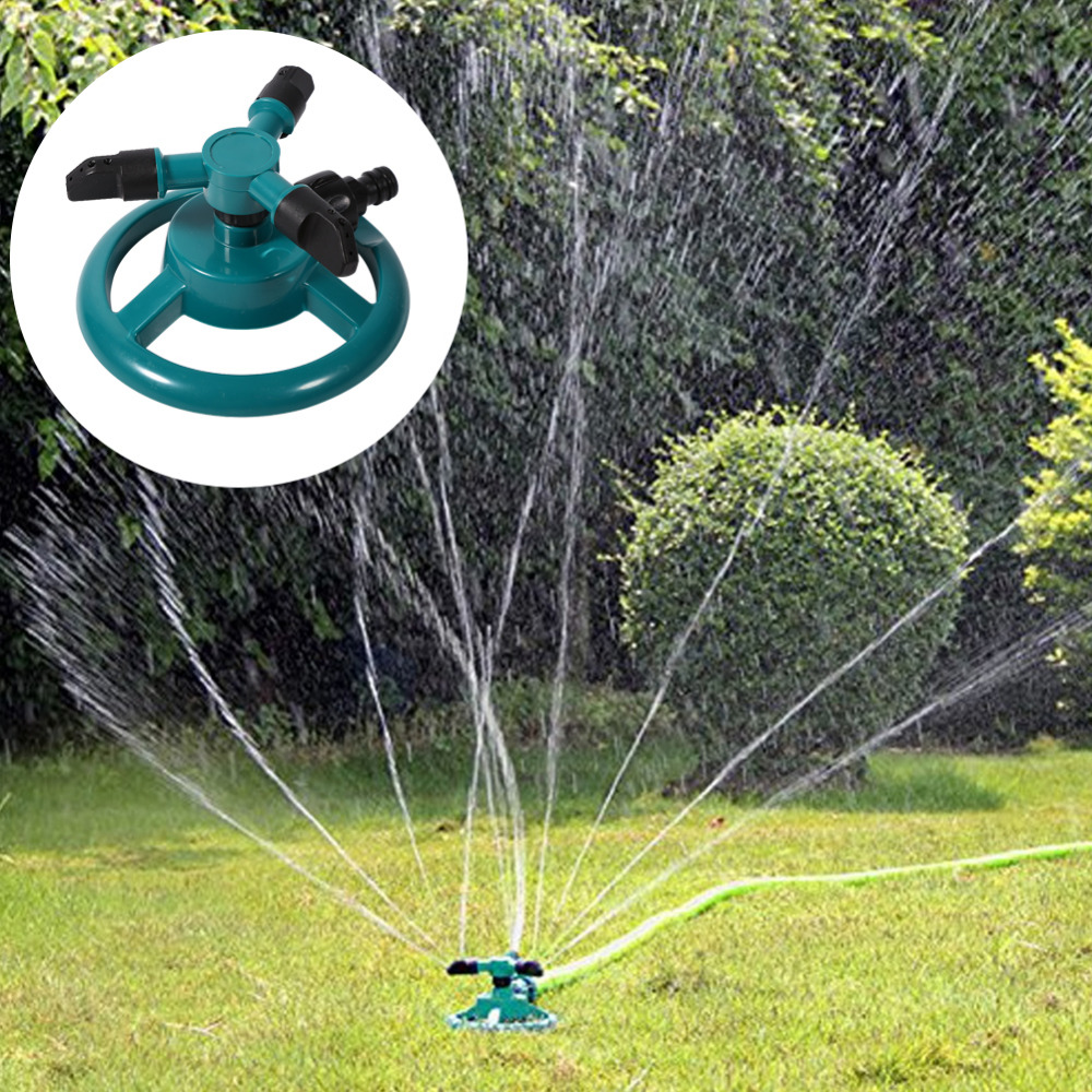 Garden Watering Systems 360 Degree Automatic Rotating Watering Sprinkler  Irrigation System 3 Nozzle Pipe Hose Garden