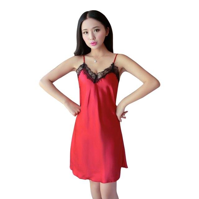 db23f3005c Sexy summer Nightgowns 2017 new fashion imitation silk ladies sling  sleeping night gown sleeveless sexy V
