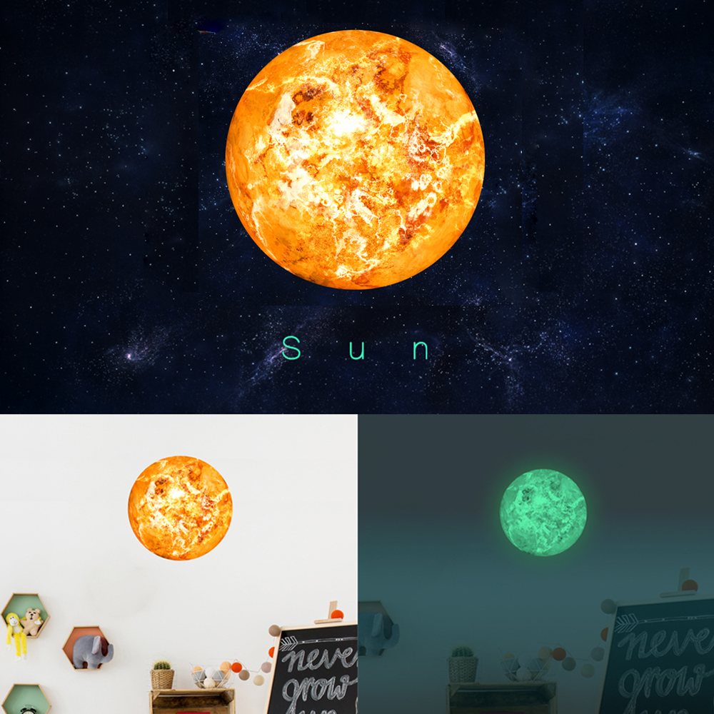 Funlife Solar System glowing wall stickers for kids rooms Stars outer space sky wall decal planets Earth Sun Saturn Mars FL10138