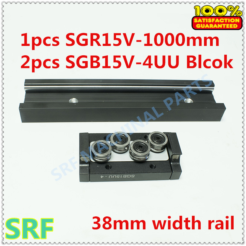 High quality 38mm width Rectangle wheel Linear Rail set:1pcs SGR15V L=1000mm Rail with 2pcs SGB15V-4UU four wheel slide block