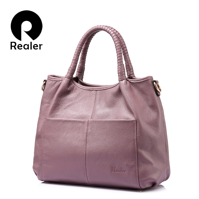 REALER genuine leather bags for women 2018 luxury handbags women bags designer leather handbag ladies shoulder messenger bags