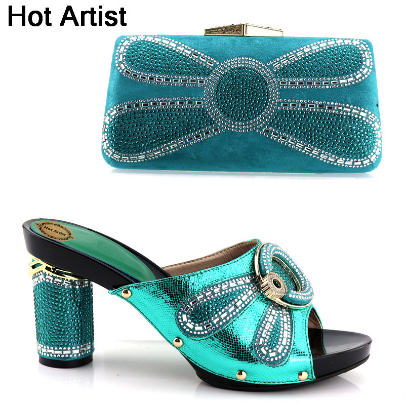 Hot Artist Italian Style Rhinestone Shoes And Bags Set Fashion African Elegan Woman High Heels Shoes And Bag Set For Party YH-02 hot artist new arrival italian style rhinestone woman shoes and bag set african high heels shoes and bag purse for party dress
