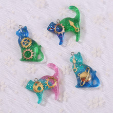 12pcs resin cat flat back earring charms very cute keychain pendant necklace pendant for DIY decoration(China)