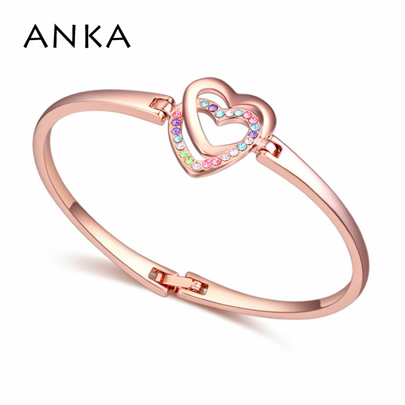 2017 Top Rose Gold Color Tactic Crystals Bangles For Girls Little Lady Single-layer Crystal heart Bangles #115749