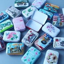 Nuevo vintage coche caja de lata portátil búho de dibujos animados Flamingo tarjeta caso a casa caja de almacenamiento para joyas de caramelo de embalaje caja de regalo