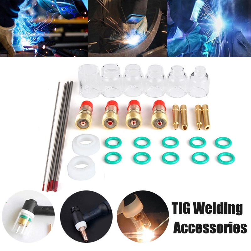 Best Promotion 30pcs TIG Welding Accessories Torch Stubby Gas Len Glass Cup for WP-9/20/25 Welding Equipment Accessories wp 17f sr 17f tig welding torch complete 17feet 5meter soldering iron flexible