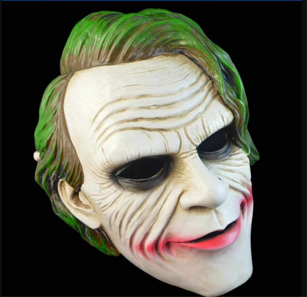 Film Batman The Dark Knight Cosplay Horreur Effrayant masque de clown avec Vert Perruque De Cheveux Halloween Latex Masque Costume Party A2241c