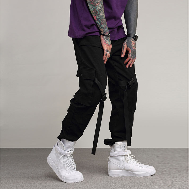 De Pantalones Pant Hip Streetwear Cargo Hop Los Hiphop Hombres Negro dCwq8Cr